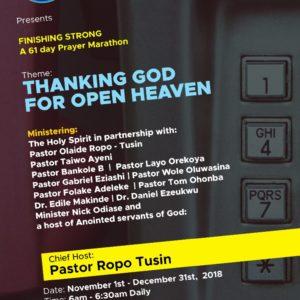 Thanking God for Open Heavens